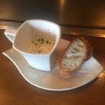鉄板料理 丈 - パン付きクリームスープ