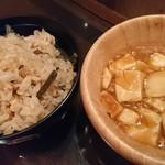畑の厨 膳丸 - 山菜炊き込みご飯、麻婆豆腐