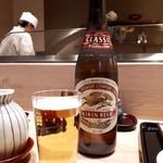 てんぷら 近藤 - 美味しい天ぷらにはやはりビール(*´∇`)ノ
