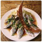 焼き茄子と炙り秋刀魚のカルパッチョ