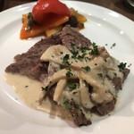 94938403 - ランプ肉のポルチーニ仕立て。ガロニの味はミックス野菜のソテー冷製バージョンだょ♪