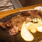 94956222 - アゴが鍛えられるハラミカットステーキ                       食べ掛けのような外観
