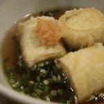 酒盃 - 一口大の揚げ出し豆腐、大葉巻き