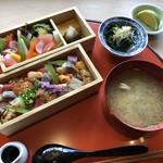 西中洲 鮨 山椒郎 - ◆それぞれのふたを開けると、ワァキレイ。