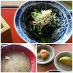 西中洲 鮨 山椒郎 - ◆水菜のお浸し ◆キノコタップリのお味噌汁 ◆ガリとライム