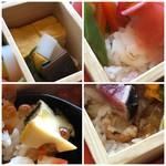 西中洲 鮨 山椒郎 - ◆野菜箱には「玉子焼き」と「香の物」・・こちらには「白ご飯」 ◆開栓箱・・鮑は3カット程度盛られていました。こちらは「酢飯」