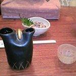 95475 - タコとワサビの和え物、日本酒の洌(れつ)