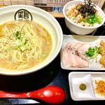 らーめん 一宮鶏白湯 鶏神 - 濃厚鶏白湯、鶏チャーシューご飯セット