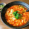 Karamenyamasumotogempuususenjiten - 料理写真:「トマト辛麺(5辛)」(800円)+「ミニなんこつ」(+100円)。