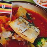 OIC食堂 - ウガンダ風フィッシュカレー(550円)のフィッシュはサンマ