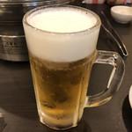 とり焼肉 とり軍 - 2018年10月20日  生ビール中(アサヒスーパードライ)290円