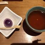 すし処 高寅 - 紫いもの水饅頭とほうじ茶