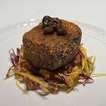 95041659 - 一皿目の前菜  スペインの栗豚の片ロース