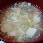 好味苑 - 好味苑 @本蓮沼 日替わりランチ Aセット 豚肉とピーマンの細切炒めに付く溶き玉子スープ