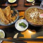 たけ山 そば店 - 料理写真:アナゴ野菜天丼セット2018.10.13