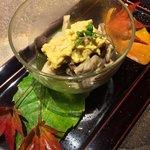 銀座 座屋 - 茸のお浸し 伊勢海老の味噌和え