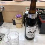 元禄寿司 - 2018年10月21日  瓶ビール(アサヒスーパードライ)