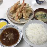 天ぷら定食ふじしま - 海老天付天ぷら定食830円