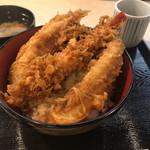 ぎおん 天ぷら 天周 - 大海老1尾と穴子2本