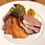 95096924 - 燻製とシャルキトリーの盛り合わせ(1,120円)  鴨肉、サーモン、カマンベール、たまご、ほっき貝、牛タン、西京味噌和え