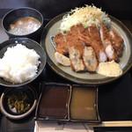 とん亭 - ロースミックス定食(シーフードより二品)(1,450円)