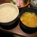 魚料理 ぎん - 焼き魚定食:鯖 ご飯 えのきと豆腐の味噌汁 自家製豆腐 小お造り あぶらげのお浸し 香の物5