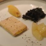 95129952 - フォアグラのテリーヌ                         さつまいものオレンジ風味                       リンゴのコンポートとトランペット
