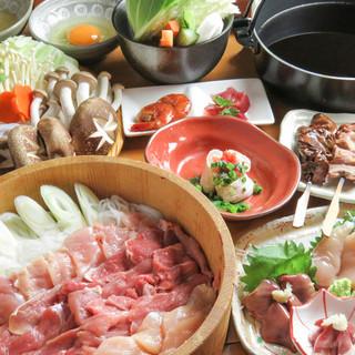 軍鶏鍋(すきやき風。水炊き鍋