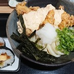 さぬきうどん 麦笑 - 料理写真:とり天タルタルおろし釜揚げ、巻き寿司セット
