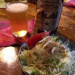 95144197 - サラダとおビール