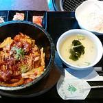 韓国料理・焼肉 きんちゃん - ホルモン石焼きビビンバセット。
