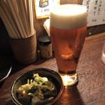 焼とんya たゆたゆ 天満 - ビール(白)と突き出し♪