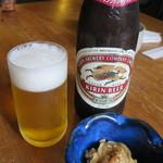 草庵 - ビール 630円 お通しは無料