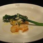 トラットリア ヴェントーノ - 白身魚と海老、ほうれん草のグラタン仕立て
