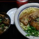 Shureisoba - 守礼そば(中)710円、軟骨ご飯350円ぐらい