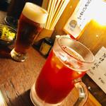 焼とんya たゆたゆ 天満 - 白ビール?青ビールとトマチュで乾杯〜〜