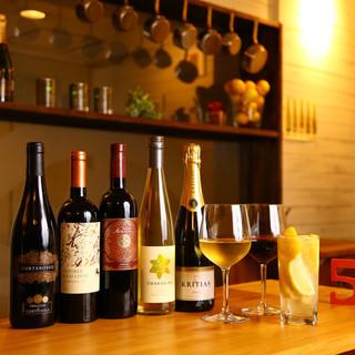 オーガニックワイン・カヴァそれぞれグラス・ボトルございます。