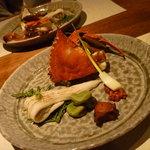 蔵の味 - アナゴの白焼き寿司・渡り蟹・ソラマメ。