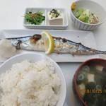 中華 ひのまる - 北海道産(旬)生さんま塩焼き納豆付定食(全景)