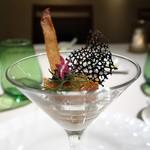 95235939 - 絹姫サーモンのマリネ 生姜風味 カクテルグラスで