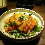 地鶏庵 - きつねと水菜のサラダ