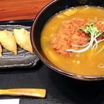 てん川 - カツカレーうどん+いなり寿司