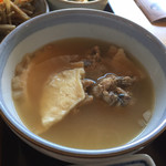 95260159 - せんべい汁(鯖のつみれ?)