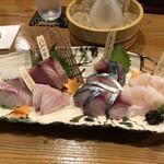 割烹居酒屋 酒縁 青月 - お造り盛り合わせ(追加サバ、スジアラ)