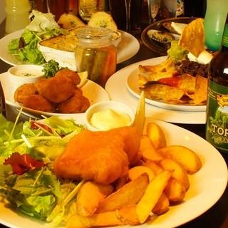 イギリスの家庭料理が楽しめる、手作りのパブフードも自慢!