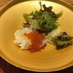 馳走和醸 すぎ - 真ハタとイクラ 網エビと小松菜のつくだ煮、キャベツの浅漬け
