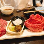 95288673 - ヒレ肉:左、仙台牛タン:真ん中の薔薇、焼きしゃぶ:右