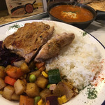 野菜を食べるBBQカレーcamp - BBQチキンカレー890円+マイルドチーズカレー150円
