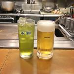 丹波亭 - サッポロ生ビール(550円 +税)/ 玉露茶(350円 +税)
