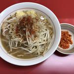 千里眼 - ラーメン 麺150g ヤサイ少なめ・ニンニク・ショウガ・カラアゲ別皿で 750円